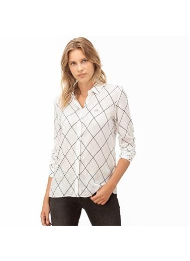 Lacoste Kadın Çizgili Gömlek CF2003.03A Beyaz